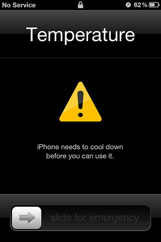 iPhone overheat message