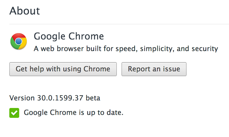 Chrome version info