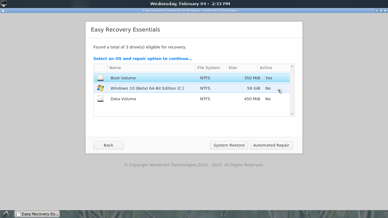 Easy recovery essentials for windows 10 is free for a for Window recovery