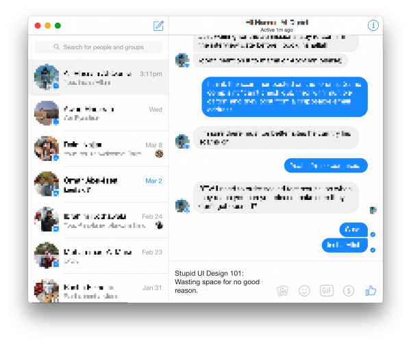 Facebook Messenger Stupid UI