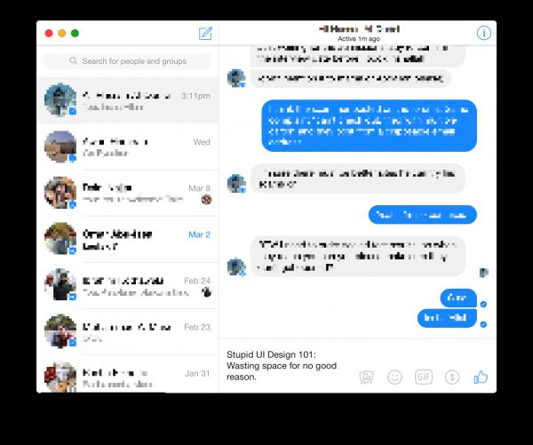 Facebook Messenger Stupid UI
