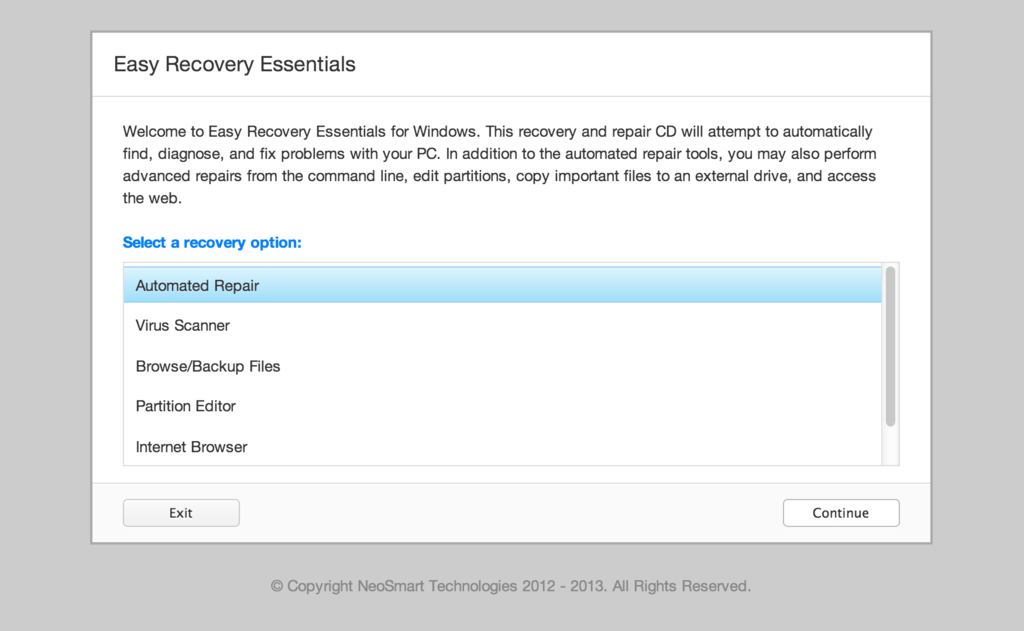 Easy Recovery Essentials for Windows 7