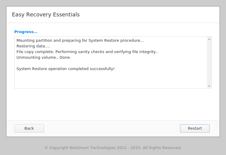 EasyRE System Restore results screen