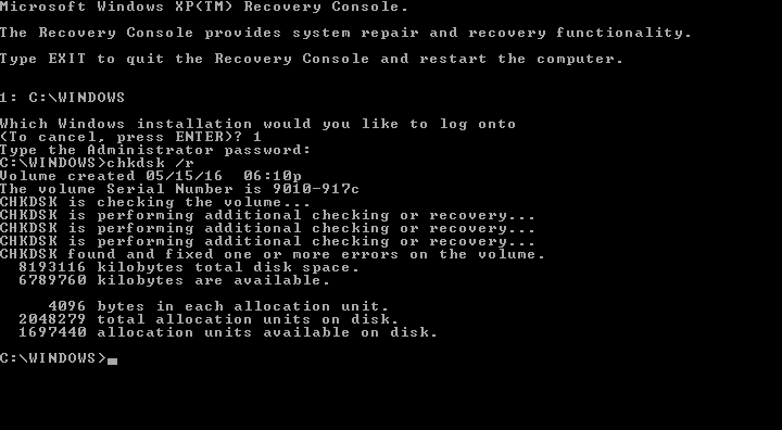 Windows XP chkdsk result screen