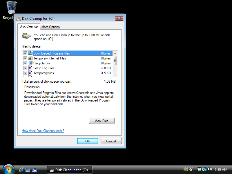Deleting temp files using Disk Cleanup in Windows Vista