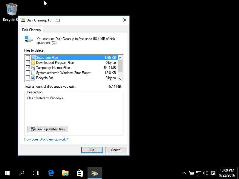 Deleting temp files using Disk Cleanup in Windows 10