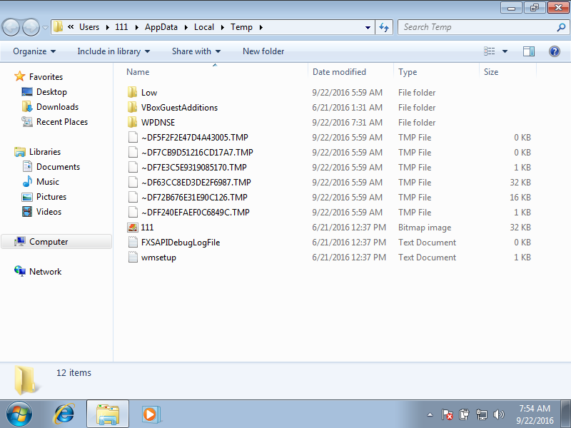 Deleting temp files using File Explorer in Windows 7