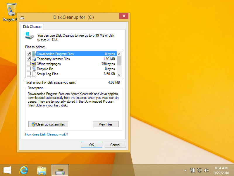 Deleting temp files using Disk Cleanup in Windows 8