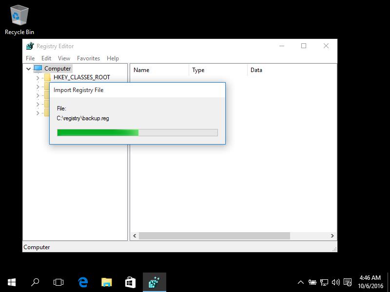 Windows 10 regedit screen
