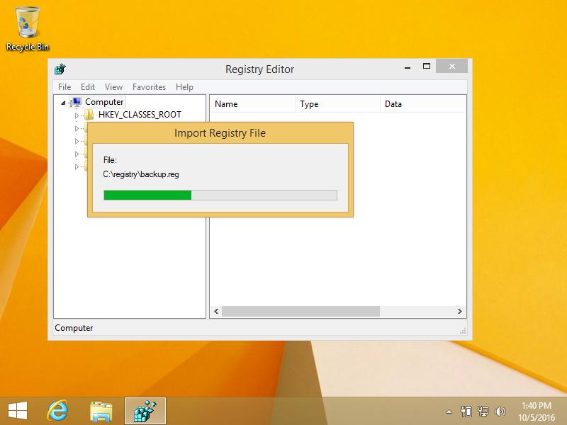 Windows 8 regedit screen