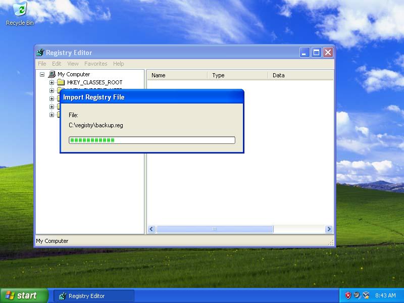 Windows XP regedit screen