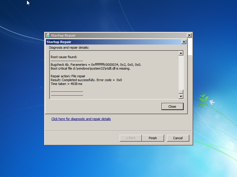 Ntdll.dll restored by Windows 7 Startup Repair