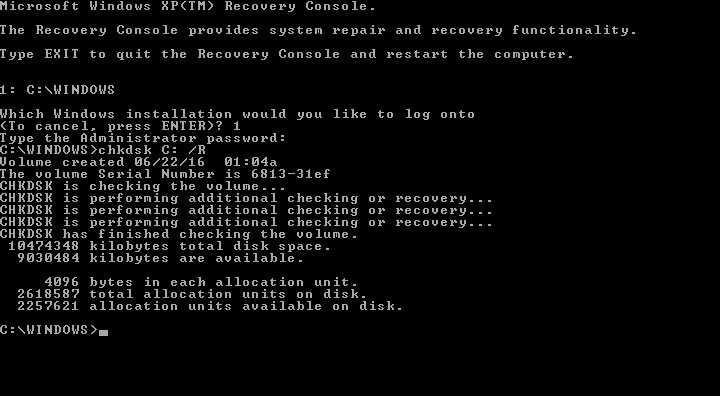 Windows XP Chkdsk utility results screen