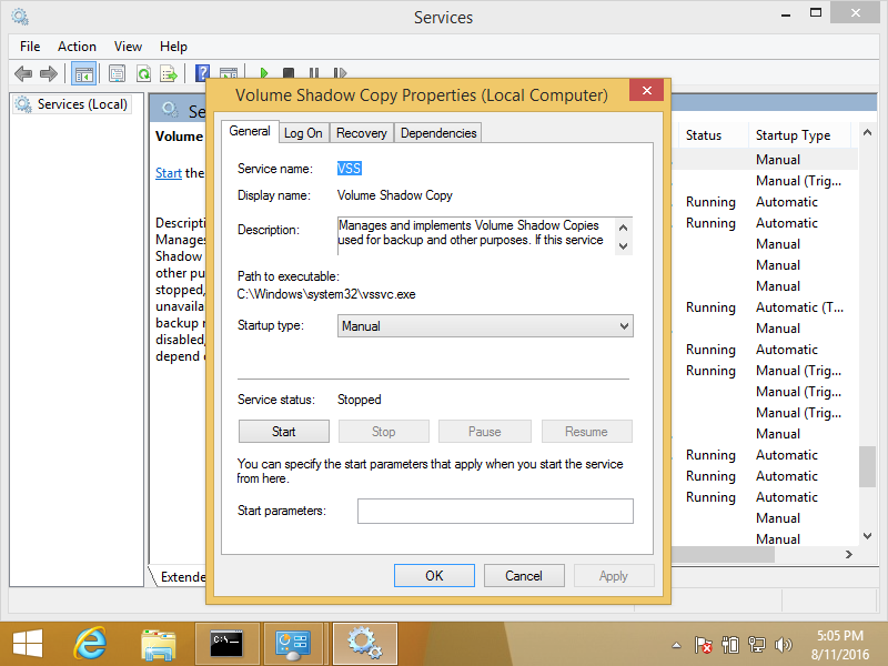 Windows 8 volume shadow copy service screen