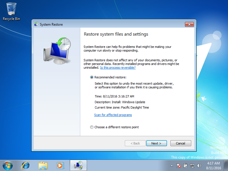 System Restore screen