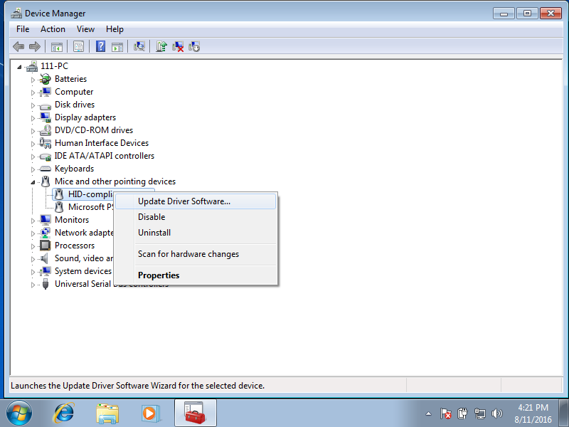 Device manager update driver screen