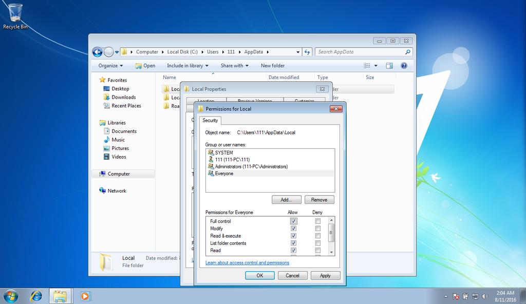 Folder security settings screen