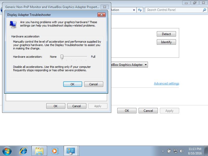 Display Adapter Troubleshooter error screen