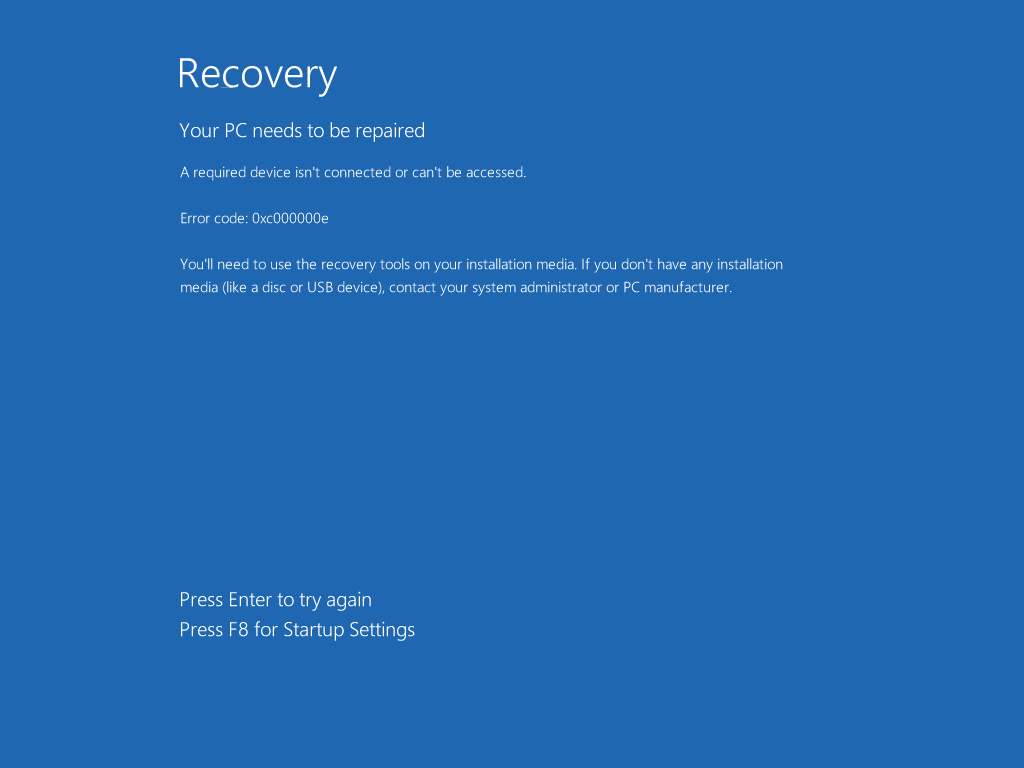 0xc000000e Windows 8/WIndows 8.1 error screen