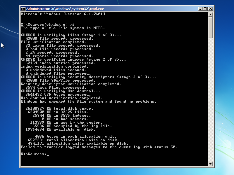 Chkdsk utility results screen