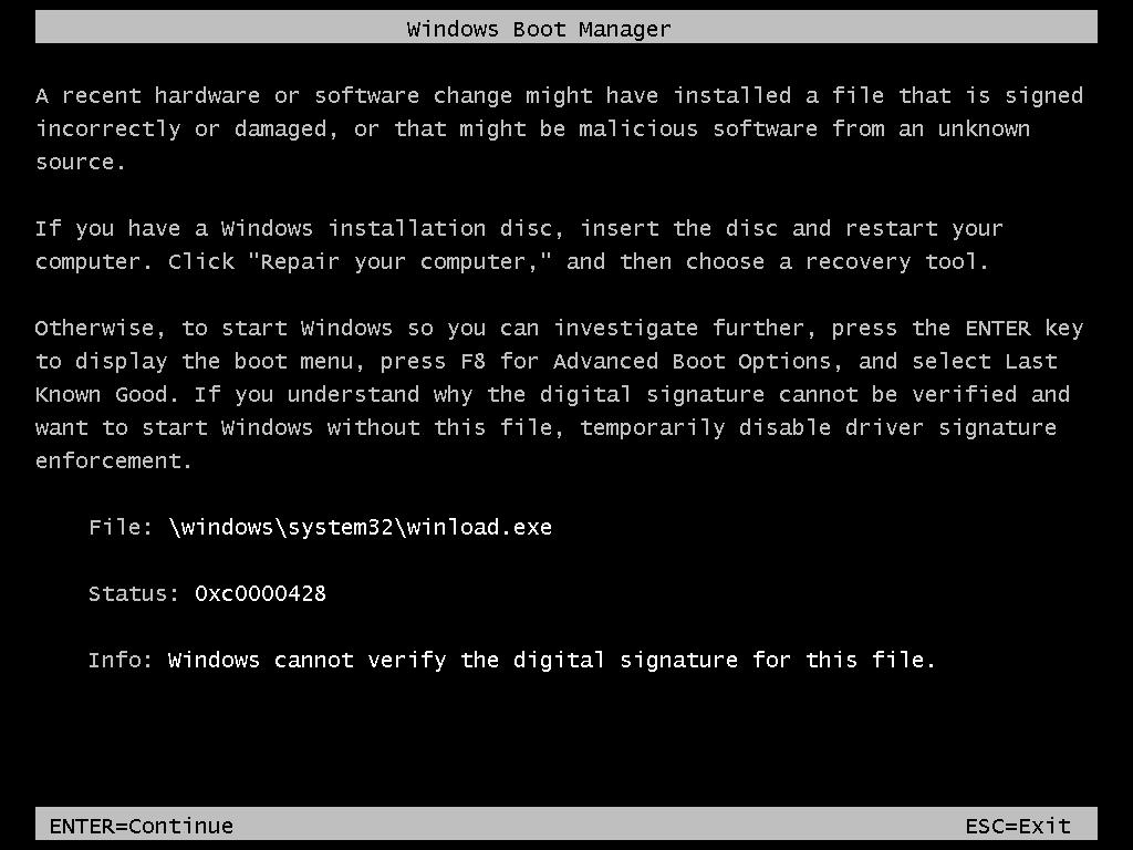 Windows 0xc0000428 error