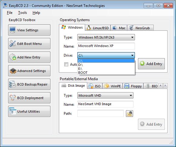 EasyBCD adding WinXP EasyLDR entry