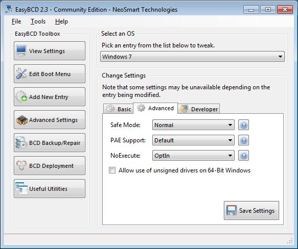 EasyBCD advanced settings - advanced tab