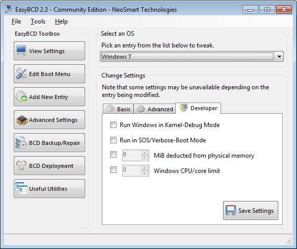 EasyBCD advanced settings screen - developer tab