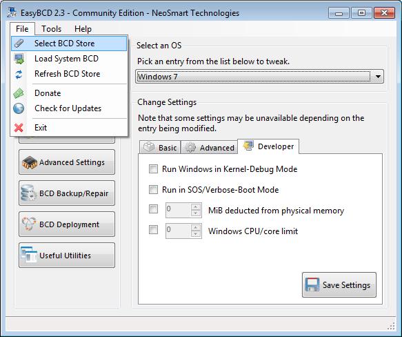 EasyBCD select BCDstore screen