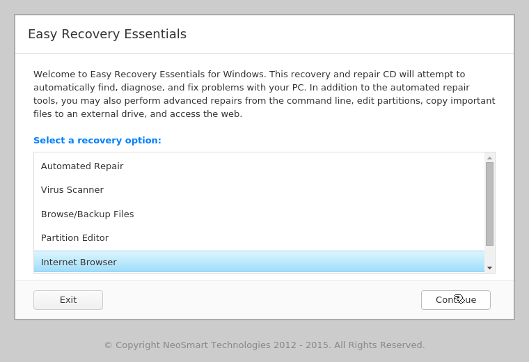Internet Browser feature in EasyRE menu