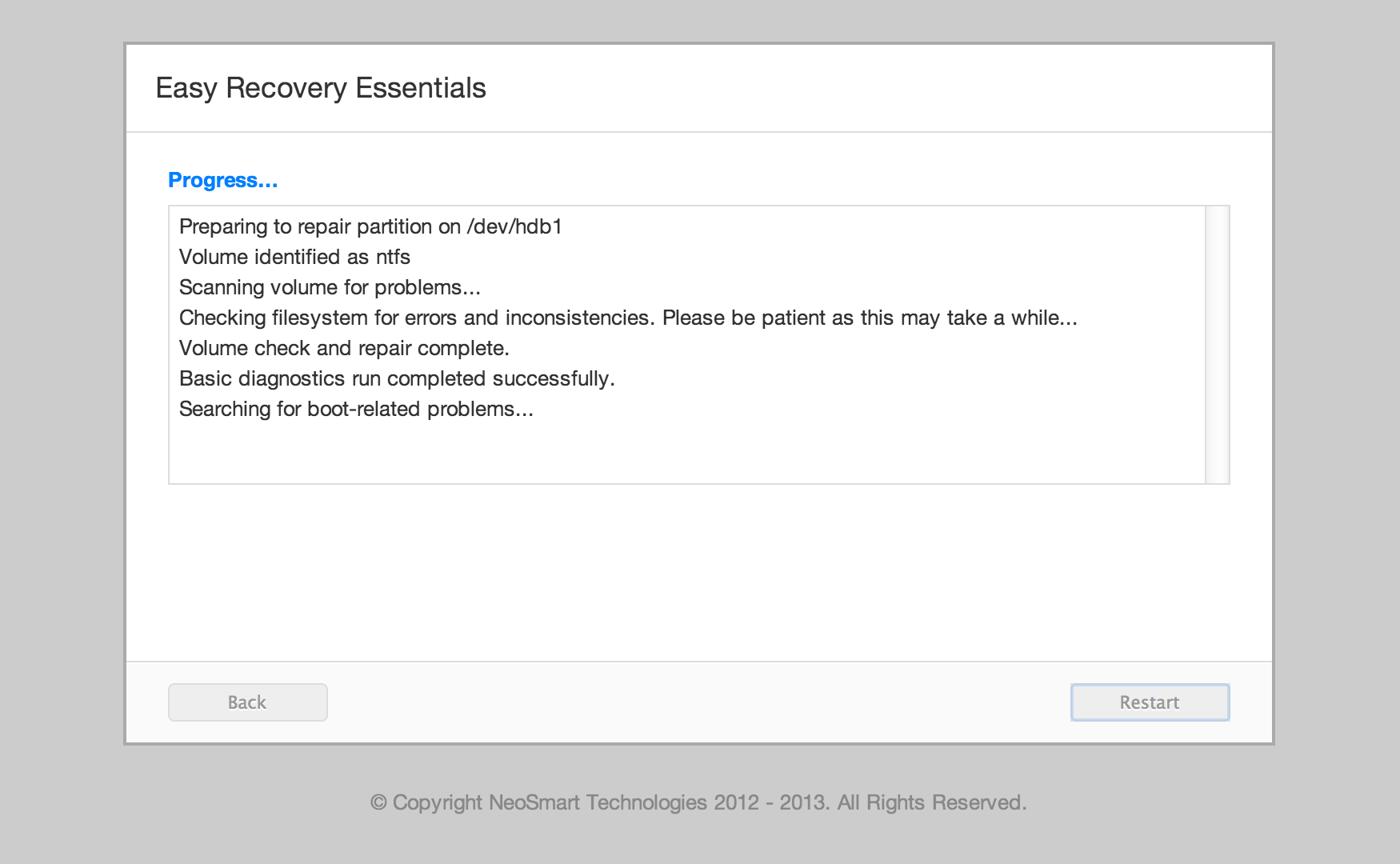 ... Easy Recovery Essentials will now begin to fix errors automatically
