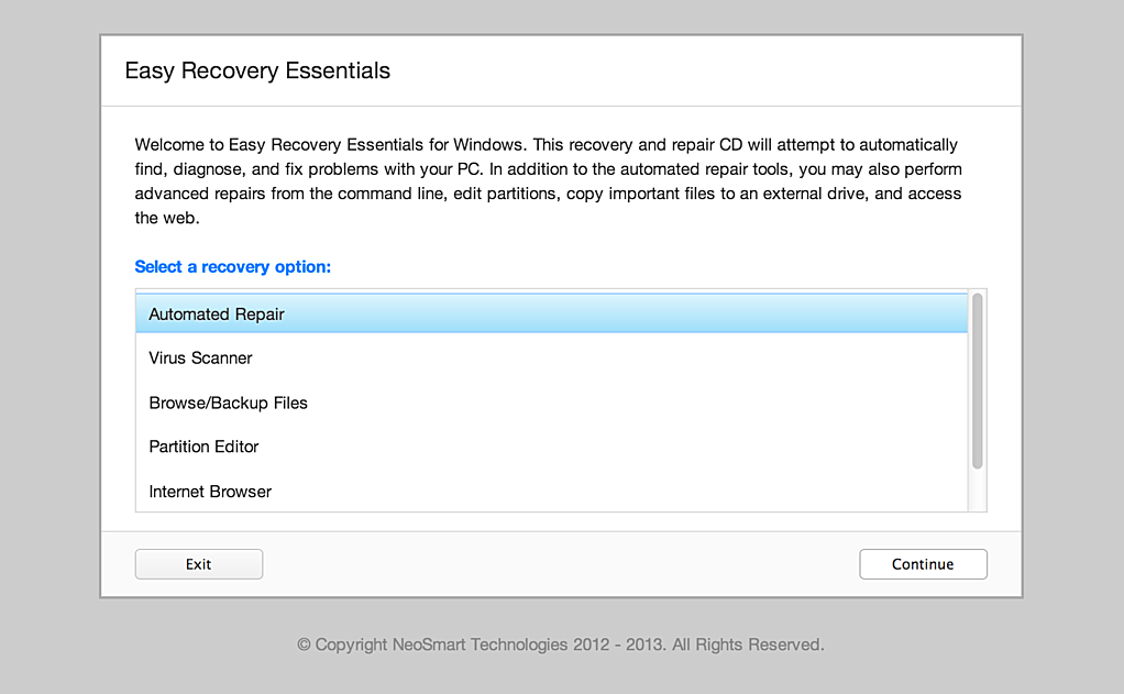 Screenshot of Easy Recovery Essentials
