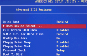 AMI BIOS Boot Device Select