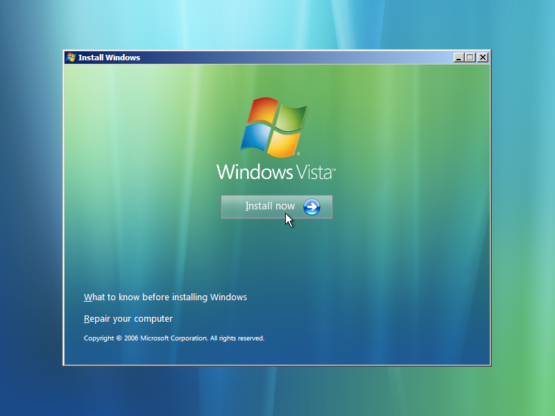 Windows Vista install screen