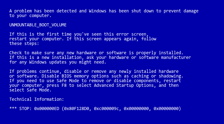 Blue Screen of Death (BSOD) showing UNMOUNTABLE_BOOT_VOLUME error - Variation 1