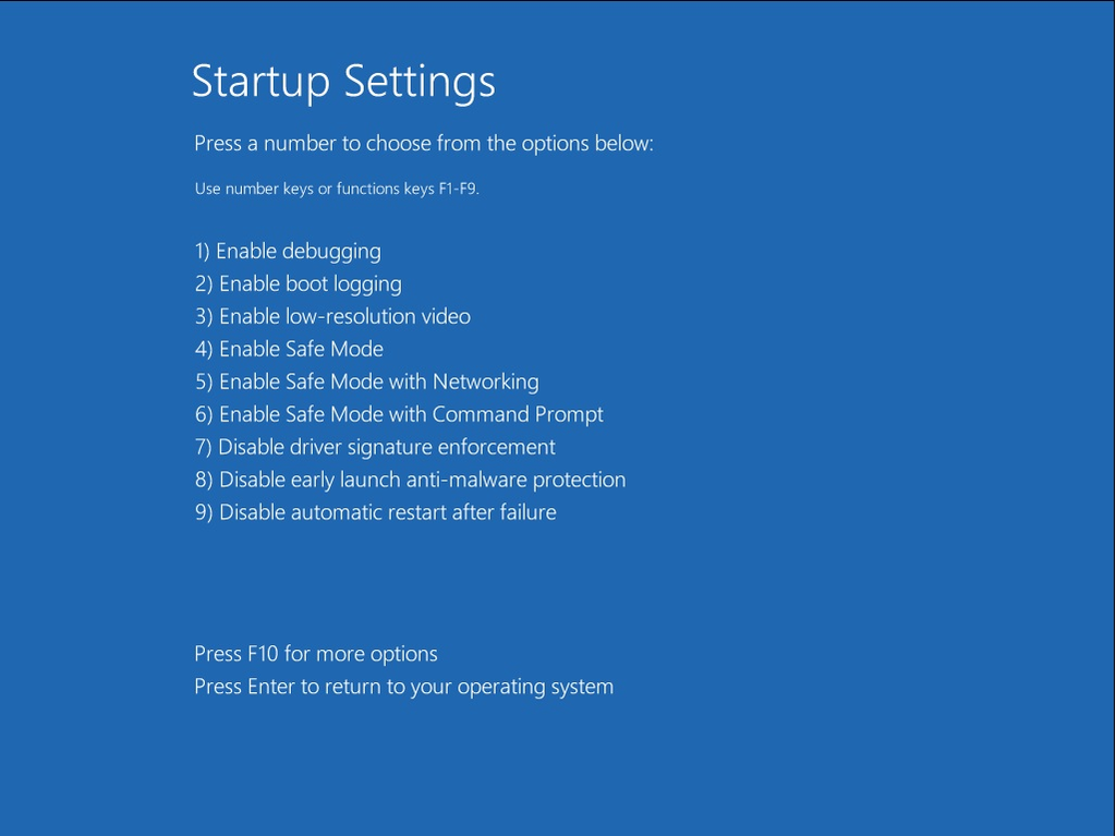 Windows 8 Advanced Boot Options/Startup Settings