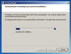 Windows Startup Repair is searching for problems