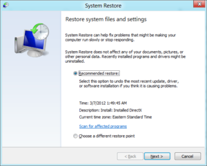 System Restore welcome screen, Recommended Restore or Choose a different restore point