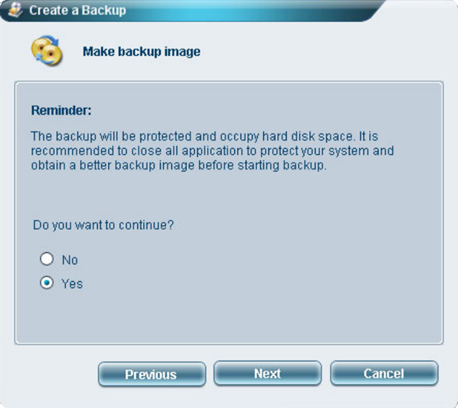 Do you want to continue creating the backup discs?