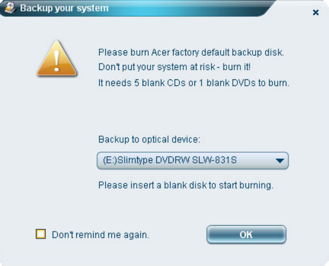 Acer eRecovery Management Factory Default Settings Image