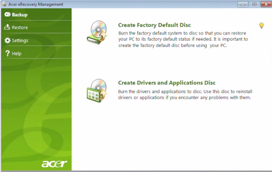 The Acer eRecovery Management software
