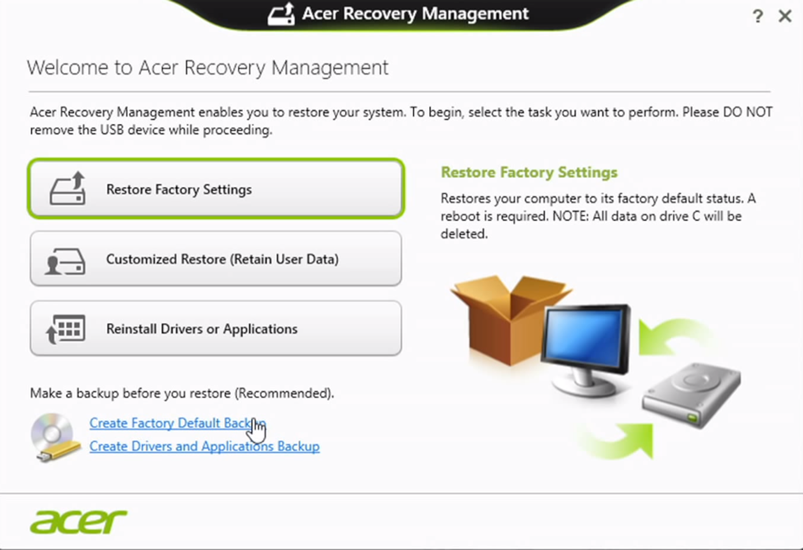 The Acer eRecovery Management software for Windows 8 users