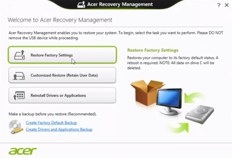 how to factory reset acer touch screen computer
