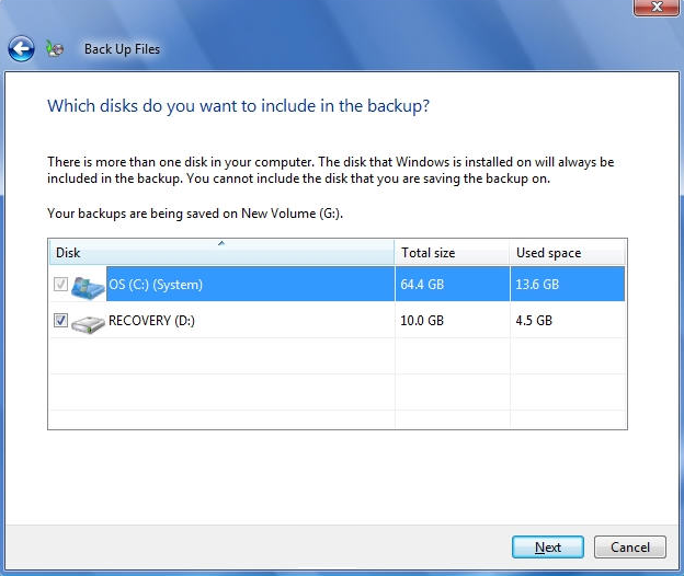 Select what disk to backup