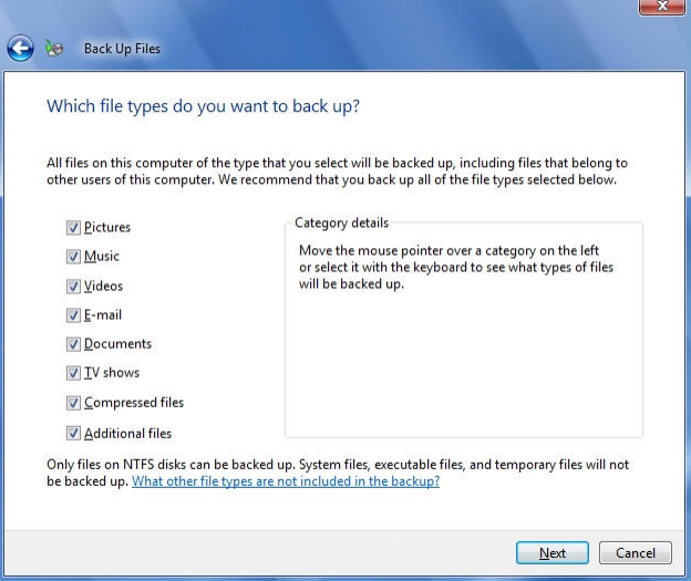 Select all available checkboxes to backup all types of files