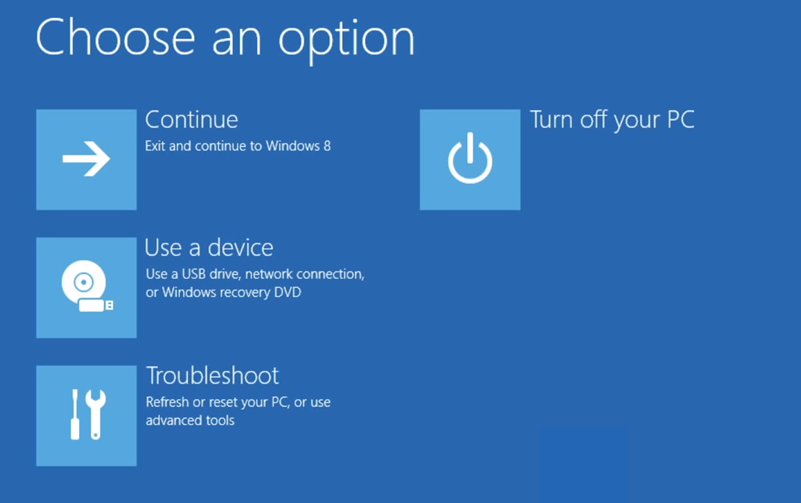 Choose an option in Windows 8