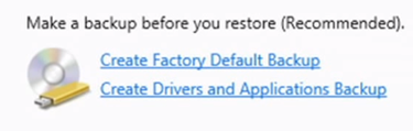 Create Factory Default Backup in Windows 8