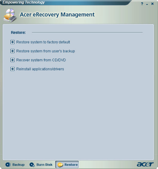 Restore Tab in Acer eRecovery Management Empowering Technology