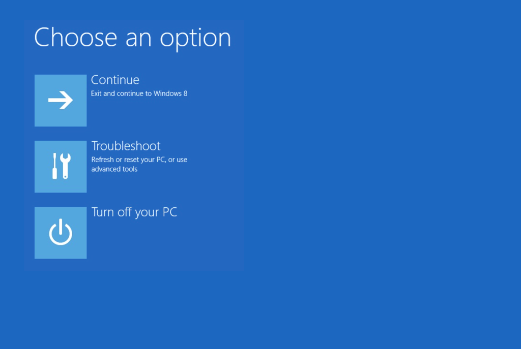 Troubleshoot in Windows 8 recovery options screen