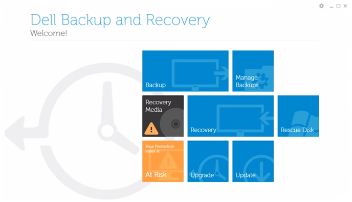 Dell Backup and Recovery Manager screenshot in Windows 8